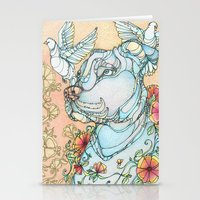pitbull Stationery Cards featuring Peaceful Pitbull by Kate Fitzpatrick