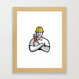 Pipefitter Holding Pipe Wrench Mascot Framed Art Print