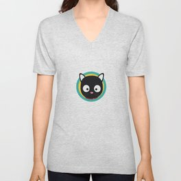 Black Cat with Green Circle Unisex V-Neck