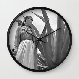 Frida Kahlo and Agave Plant, Black and White, Vintage Art Wall Clock