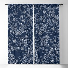 Artistic hand painted navy blue white modern floral Blackout Curtain