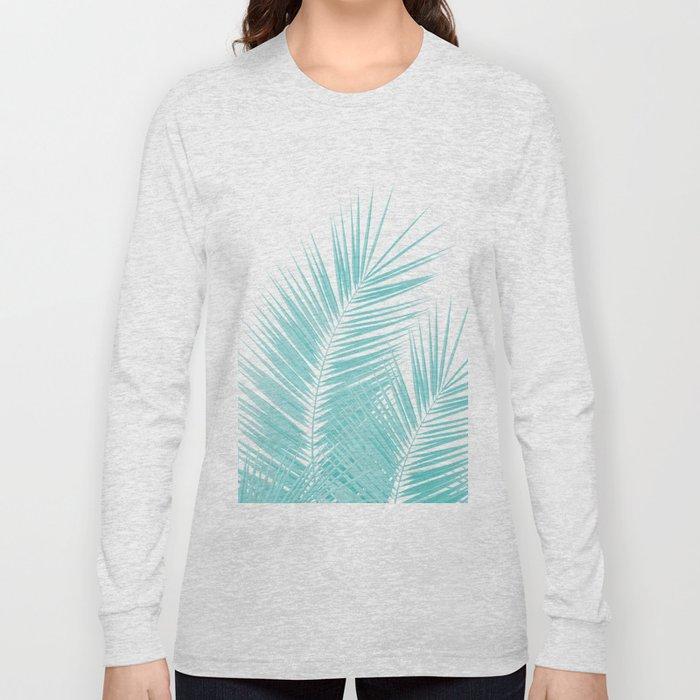 Soft Turquoise Palm Leaves Dream - Cali Summer Vibes #1 #tropical #decor #art #society6 Long Sleeve T-shirt