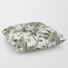 Black Magnolia Pattern Floor Pillow