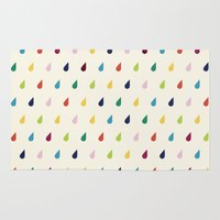xbox Area & Throw Rugs featuring Raindrops by Cute Cute Cute