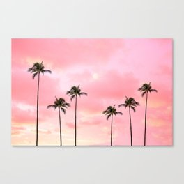 Palm Trees Photography | Hot Pink Sunset Canvas Print