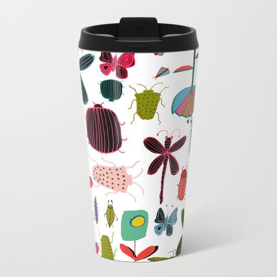 Insect watercolor white Metal Travel Mug