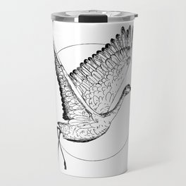 Flying Sandhill Crane Black And White Illustration / Crane Bird Drawing / Flying Crane Travel Mug