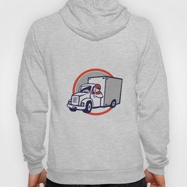 Delivery Van Driver Thumbs Up Circle Cartoon Hoody