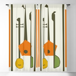 Mid-Century Modern Art Musical Strings Blackout Curtain