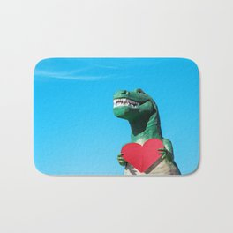 Tiny Arms, Big Heart: Tyrannosaurus Rex with Red Heart Bath Mat