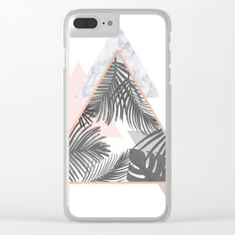 Tropical Marble Blush Pink Gray Copper Clear iPhone Case