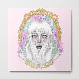 Girl in golden mirror - pink Metal Print