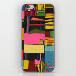 Colors in Collision 2 - Geometric Abstract in Blue Yellow Pink and Green iPhone Skin