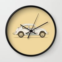 vw Wall Clocks featuring Famous Car #4 - VW Beetle by Florent Bodart / Speakerine
