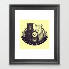 Modern Bear Family (Yellow) Framed Art Print