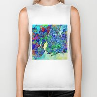 new york map Biker Tanks featuring new york new york map by Bekim ART