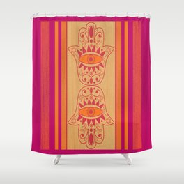 Double Orange Denim Hamsa Shower Curtain