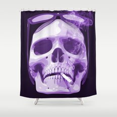 Skull Smoking Cigarette Purple Shower Curtain