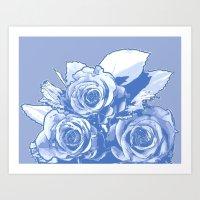 blueprint Art Prints featuring BluePrint by Laurkinn12
