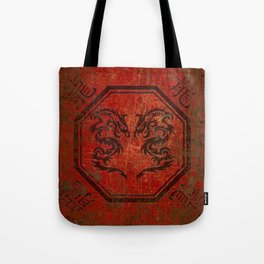 Distressed Dueling Dragons in Octagon Frame With Chinese Dragon Characters Tote Bag