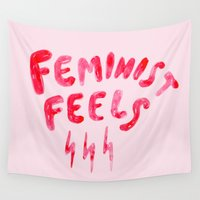 feminist Wall Tapestries featuring Feminist Feels by Ambivalently Yours