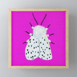 White ermine moth embroidery Framed Mini Art Print