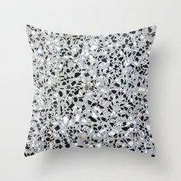 Concrete terrazzo marble texture speckle pattern gray Throw Pillow