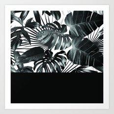 Palm Leaves and Black Art Print