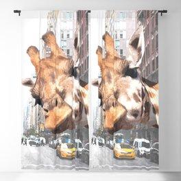 Selfie Giraffe in New York Blackout Curtain