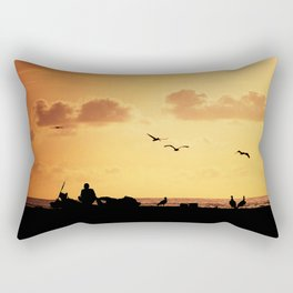 Fisherman at sunset Rectangular Pillow