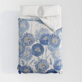 blue indigo dandelion pattern watercolor Comforters