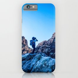 Boys Adventure | Rustic Camping Kid Red Rocks Climbing Explorer Blue Landscape Nursery Photograph iPhone Case