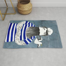 tattoo sailor in blue stripes watercolor illustration Rug