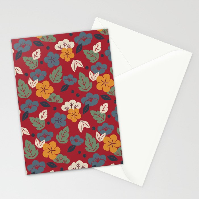 Retro autumn floral pattern Stationery Cards