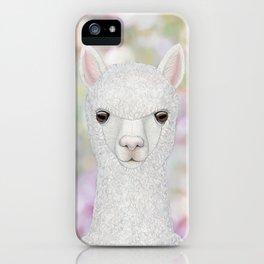 Alpaca farm animal portrait iPhone Case