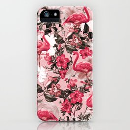 Floral and Flemingo III Pattern iPhone Case