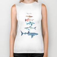 sharks Biker Tanks featuring Sharks by Amee Cherie Piek