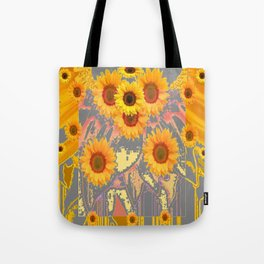 MODERN ART YELLOW SUNFLOWERS  GREY ABSTRACT Tote Bag