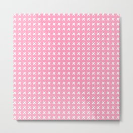 Pink pattern with white crosses Metal Print