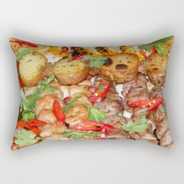 Food texture in the restaurant meat Rectangular Pillow