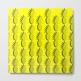 Pineapple Lines - true yellow Metal Print
