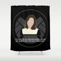 agents of shield Shower Curtains featuring Agents of S.H.I.E.L.D. - Simmons by MacGuffin Designs