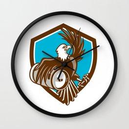 American Bald Eagle Beer Keg Crest Retro Wall Clock