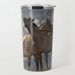 Montana Horses near Glacier National Park Travel Mug