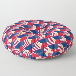 Mix of flag : philippines and Usa Floor Pillow
