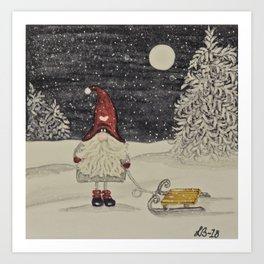 """Tomten Elmer"" and his new sledge. Art Print"