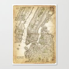 map of new york 1800s Canvas Print