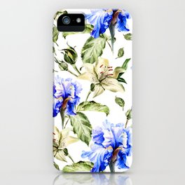 Irisis and lilies - flower pattern no3 iPhone Case