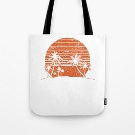Retro Sunset Beach Vacation Paradise Island Red Orange Tote Bag