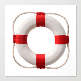 White-red lifebuoy, isolated on white background Canvas Print